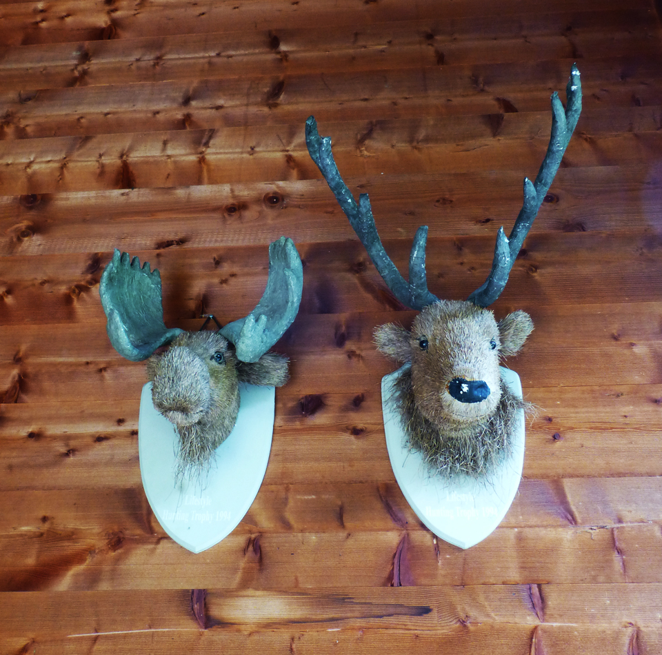 A moose and elk made from straw and wood, I think.