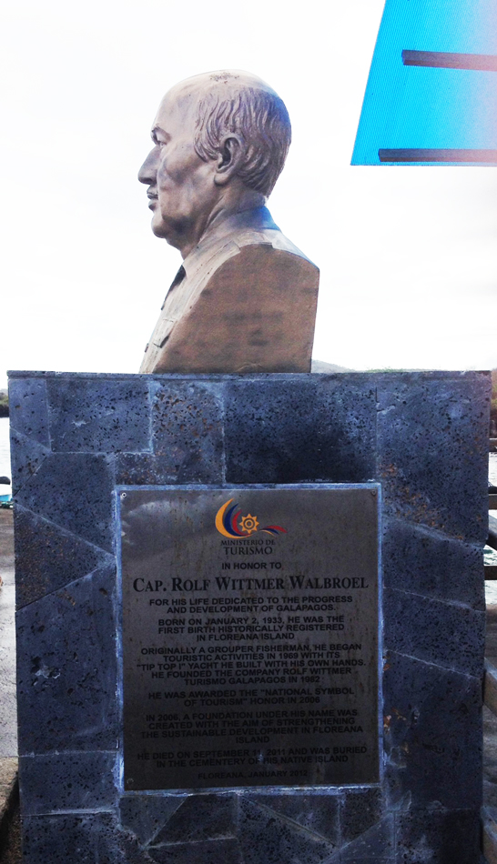 A bust and plaque to one of the early residents of the island - Walbroel