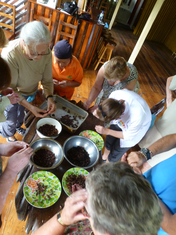 This afternoon, we helped process cacao beans into chocolate...well we did the easy parts.