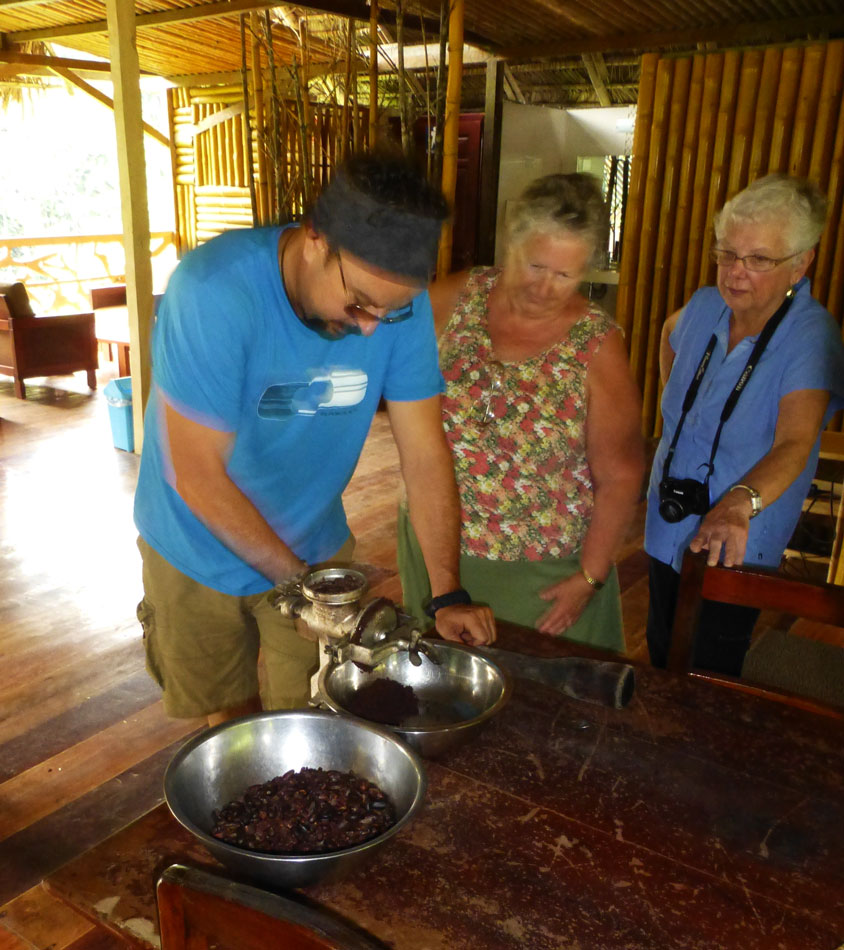 Here is Enrique running the shelled beans through the grinder.