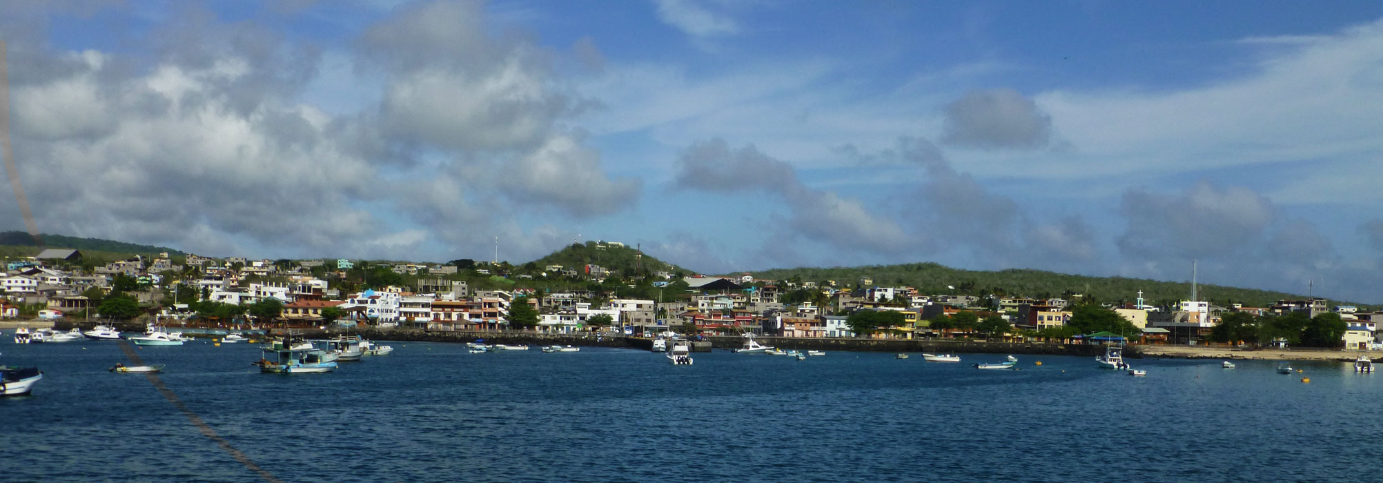 The city of Puerto Baquerizo Moreno as viewed from our boat.