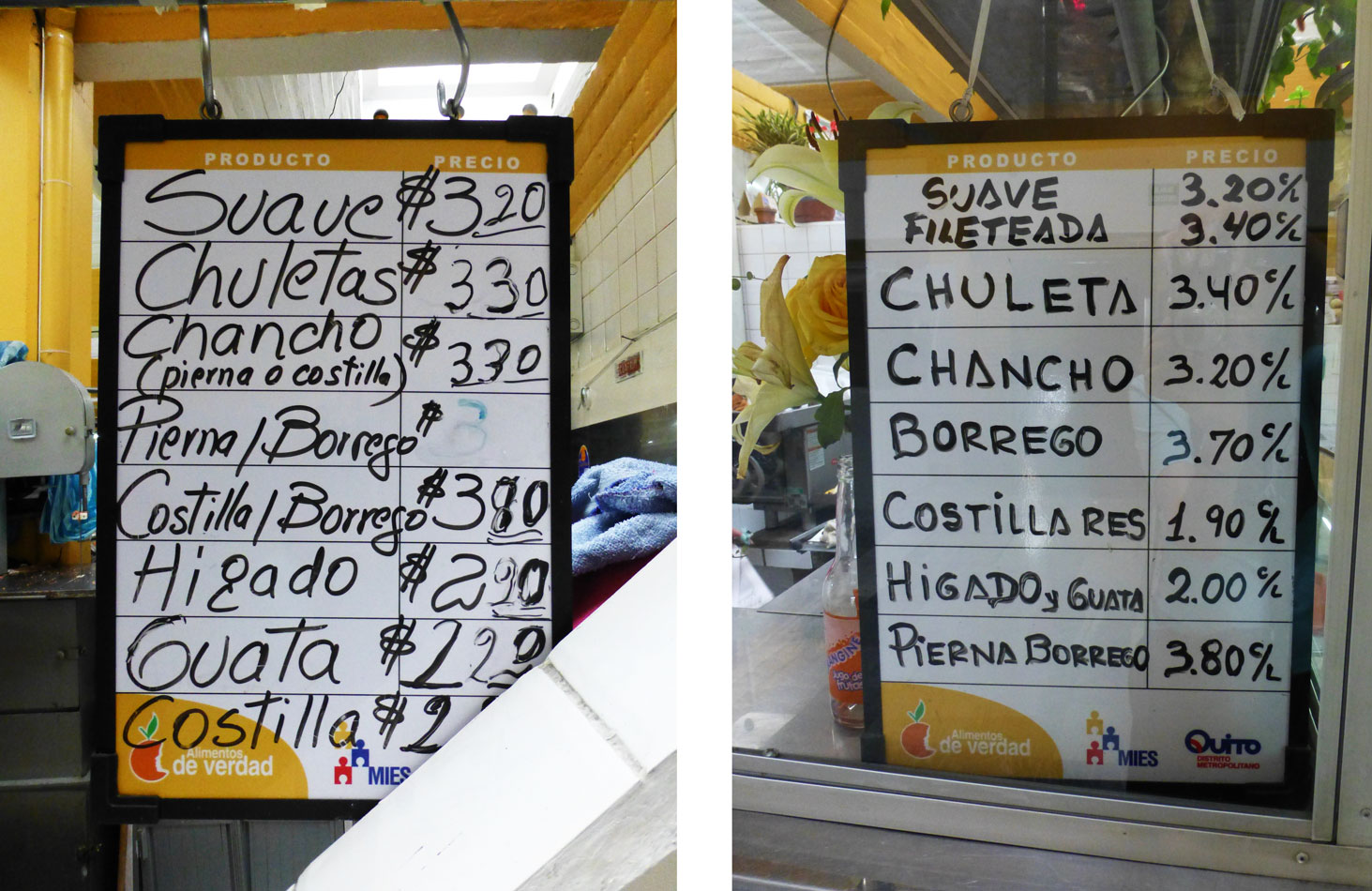 Here are two price lists from 2 different vendors.
