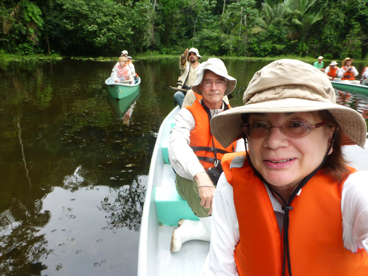 Cathy, Peter and Enrique in our canoe