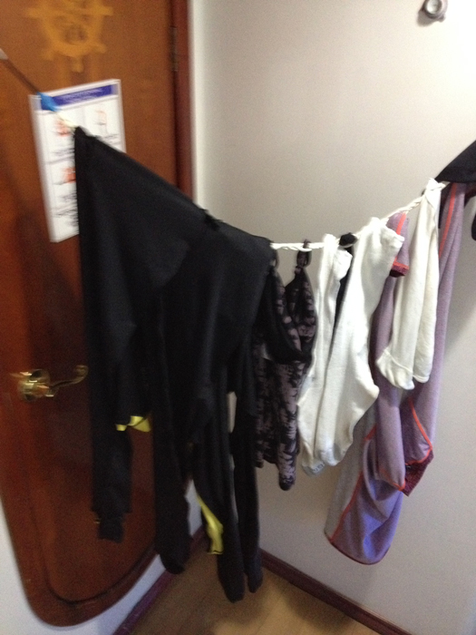 We figured out how to dry our swimwear suspending a line between the cabin door and a coat rack.