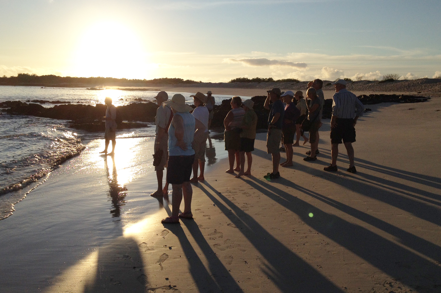 Our group casting long shadows.