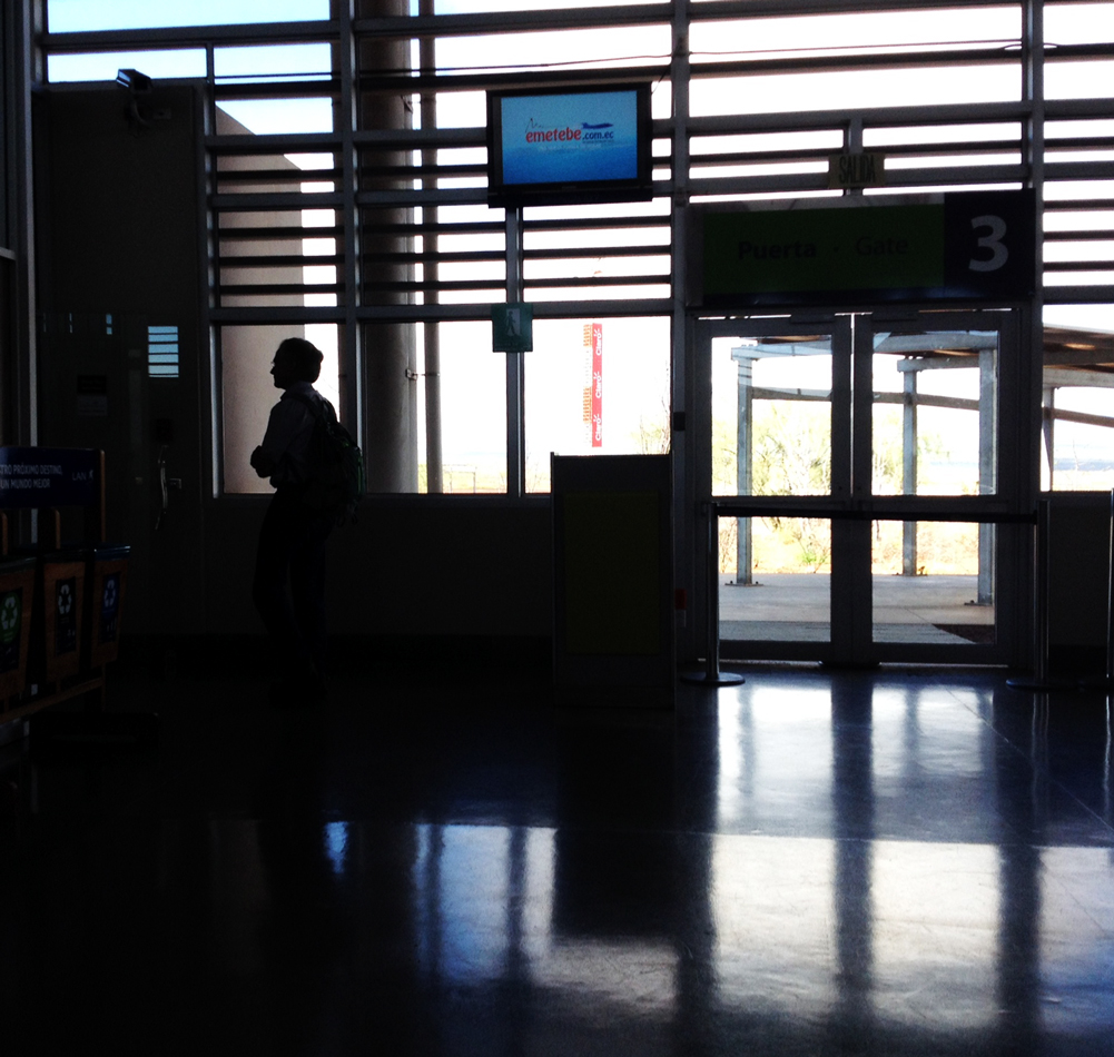 Peter waiting at the Baltra Airport