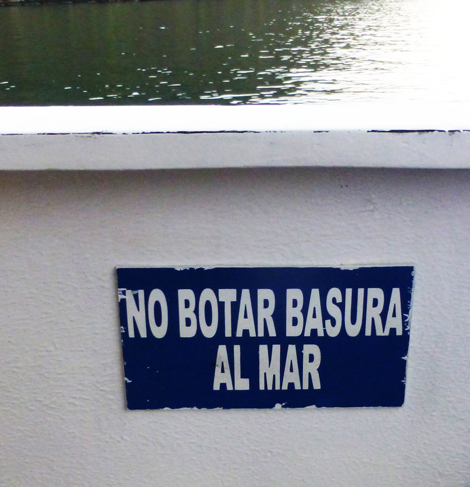 A sign posted on our boat.